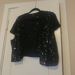 Sequined Cropped Shrug